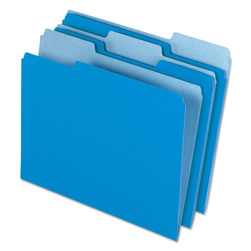 Interior File Folders, 1/3-Cut Tabs, Letter Size, Blue, 100/Box | by Plexsupply