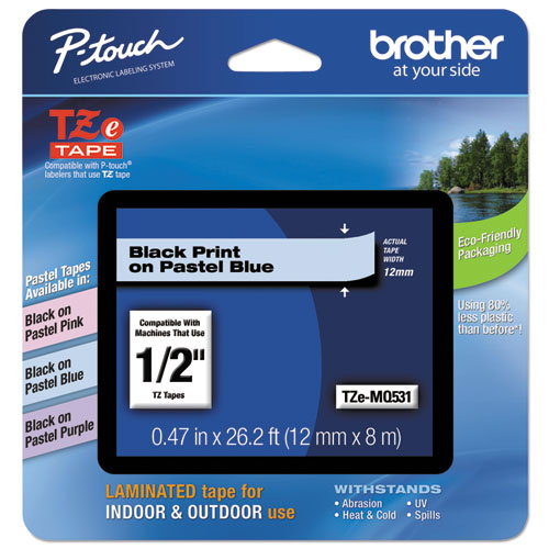"Brother P-Touch® TZe Standard Adhesive Laminated Labeling Tape, 1/4""w, Black on Clear"