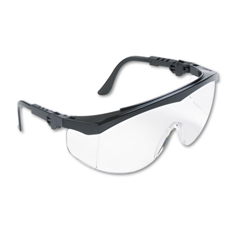 Tomahawk Wraparound Safety Glasses, Black Nylon Frame, Clear Lens, 12/Box | by Plexsupply