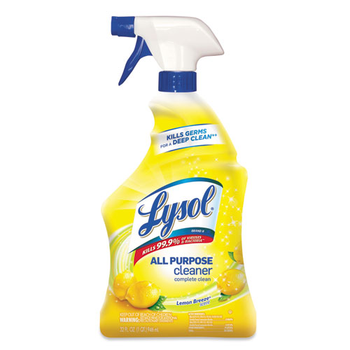 LYSOL® Brand Ready-to-Use All-Purpose Cleaner, Lemon Breeze, 32 oz Spray Bottle, 12/Carton