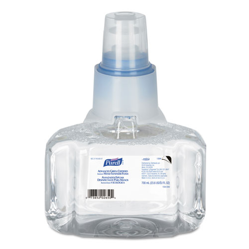 Advanced Hand Sanitizer Green Certified Refill, For LTX-7, 700 mL, Fragrance-Free, 3/Carton
