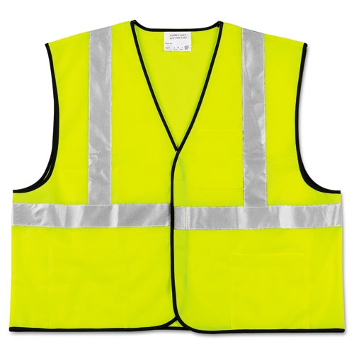 Class 2 Safety Vest, Fluorescent Lime w/Silver Stripe, Polyester, Large | by Plexsupply