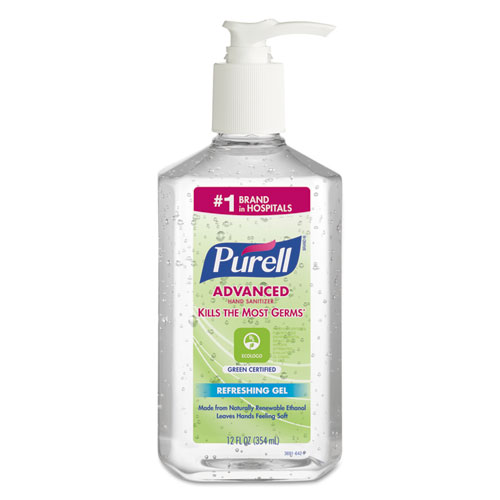 PURELL® Advanced Hand Sanitizer Green Certified Gel, Fragrance-Free, 8 oz Pump Bottle, 12/Carton