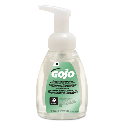 Green Certified Foam Soap, Fragrance-Free, 7.5 oz Pump Bottle