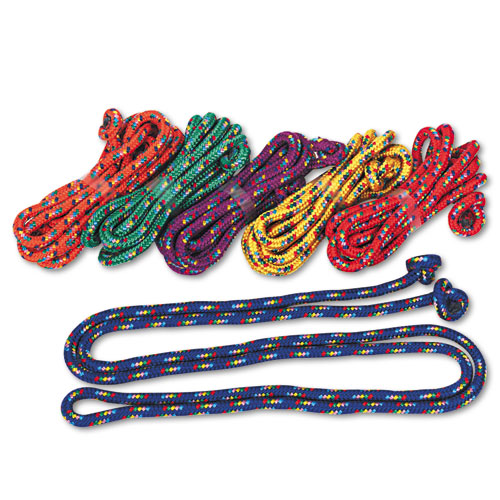 Braided Nylon Jump Ropes, 8ft, 6 Assorted-Color Jump Ropes/Set | by Plexsupply