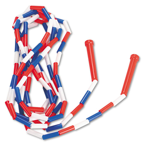 Segmented Plastic Jump Rope, 16ft, Red/Blue/White | by Plexsupply