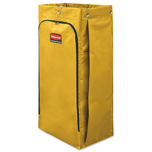 Vinyl Cleaning Cart Bag, 34 gal, 17.5 x 33, Yellow