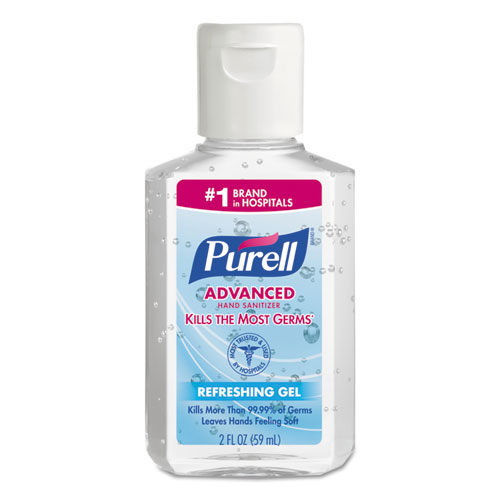 PURELL® Advanced Refreshing Gel Hand Sanitizer, Clean Scent, 2 oz, Squeeze Bottle, 24/Carton