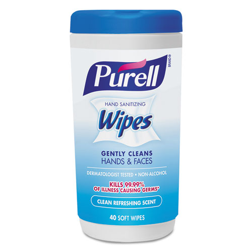 PURELL® Hand Sanitizing Wipes, 5 7/10 x 7 1/2, Clean Refreshing Scent, 40/Canister