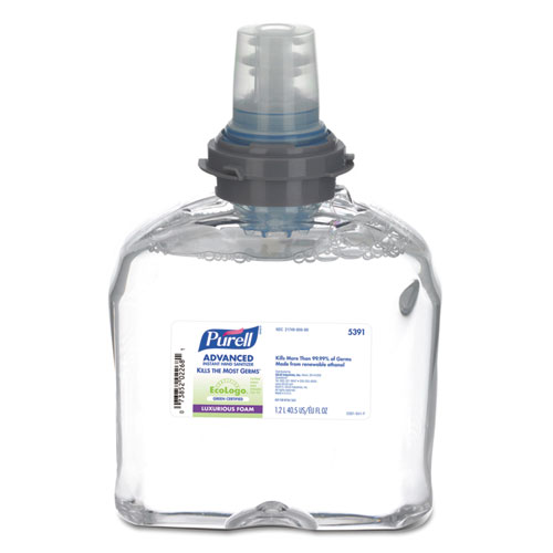 PURELL® Advanced Hand Sanitizer Green Certified TFX Foam Refill, 1200 ml, Clear, 2/Carton