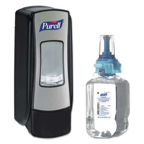 PURELL® ADX-7 Advanced Instant Hand Sanitizer Kit, 700mL, Manual, Chrome/Black, 4/CT