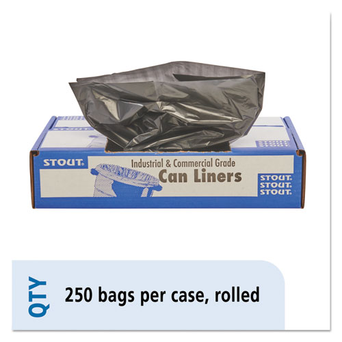"""Stout® by Envision™ Total Recycled Content Plastic Trash Bags, 10 gal, 1 mil, 24"""" x 24"""", Brown/Black, 250/Carton"""