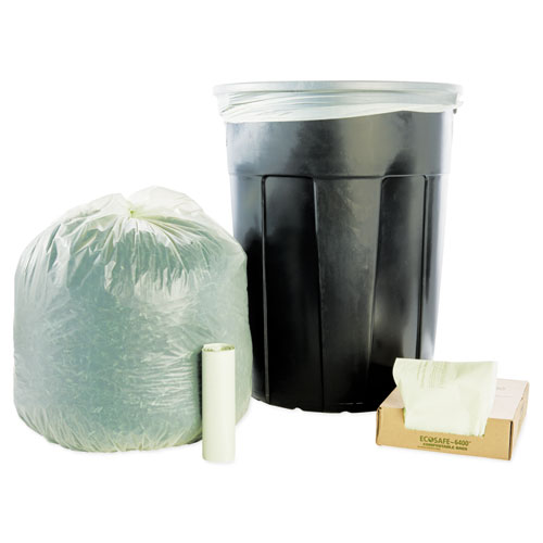 "Stout® by Envision™ EcoSafe-6400 Bags, 48 gal, 0.85 mil, 42"" x 48"", Green, 40/Box"