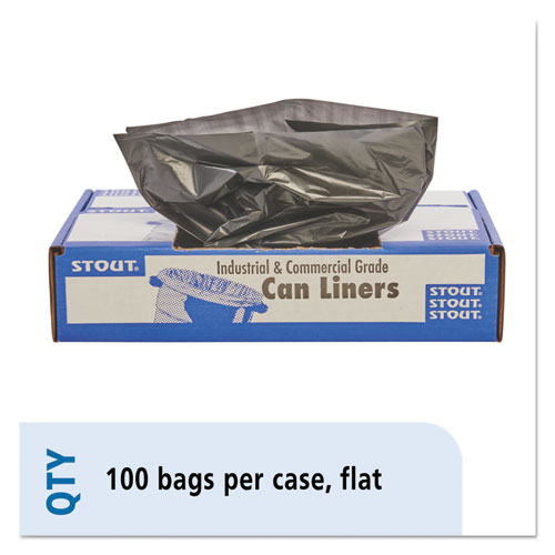 """Stout® by Envision™ Total Recycled Content Plastic Trash Bags, 33 gal, 1.3 mil, 33"""" x 40"""", Brown/Black, 100/Carton"""