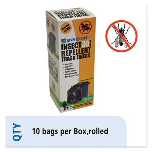 Stout® by Envision™ Insect-Repellent Trash Bags, 33 x 40, 1.3 mil, Black, 10/Box