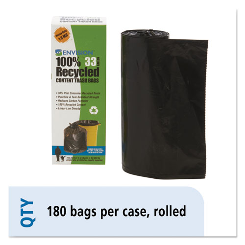"Total Recycled Content Plastic Trash Bags, 33 gal, 1.3 mil, 33"" x 40"", Brown/Black, 180/Carton 