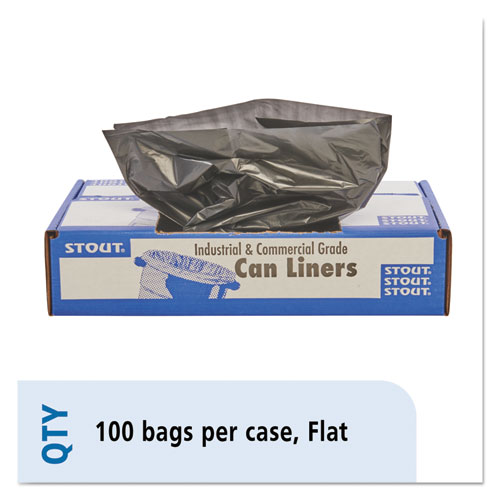 "Stout® by Envision™ Total Recycled Content Plastic Trash Bags, 56 gal, 1.5 mil, 43"" x 49"", Brown/Black, 100/Carton"