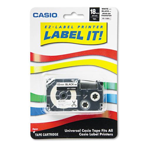 "Label Printer Iron-On Transfer Tape, 0.75"" x 26 ft, Black on White"