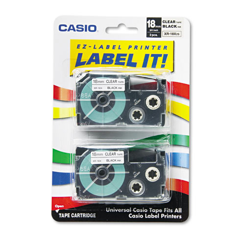 """Tape Cassettes for KL Label Makers, 0.75"""" x 26 ft, Black on Clear, 2/Pack"""