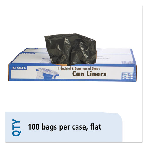 """Stout® by Envision™ Total Recycled Content Plastic Trash Bags, 60 gal, 1.5 mil, 38"""" x 60"""", Brown/Black, 100/Carton"""