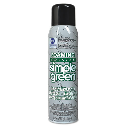 Simple Green® Foaming Crystal Industrial Cleaner and Degreaser, 20 oz Aerosol Spray, 12/Carton