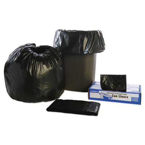 "Stout® by Envision™ Total Recycled Content Plastic Trash Bags, 10 gal, 1 mil, 24"" x 24"", Brown/Black, 250/Carton"