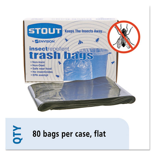 Stout® by Envision™ Insect-Repellent Trash Bags, 35gal, 2mil, 33 x 45, Black, 80/Box
