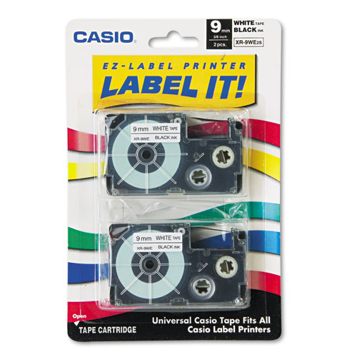 "Casio® Tape Cassettes for KL Label Makers, 0.37"" x 26 ft, Black on White, 2/Pack"