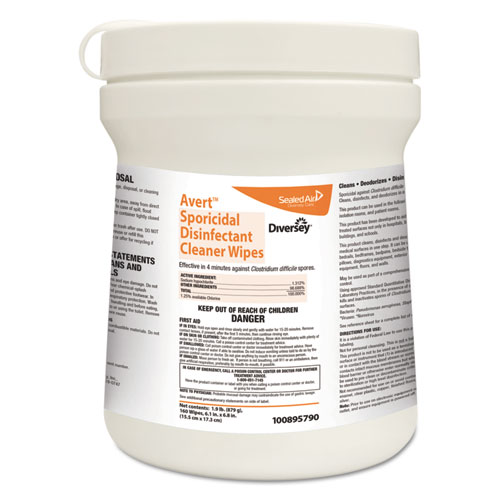 Diversey™ Avert Sporicidal Disinfectant Cleaner Wipes, Chlorine, 6 x 7, 160/Can, 12/Carton
