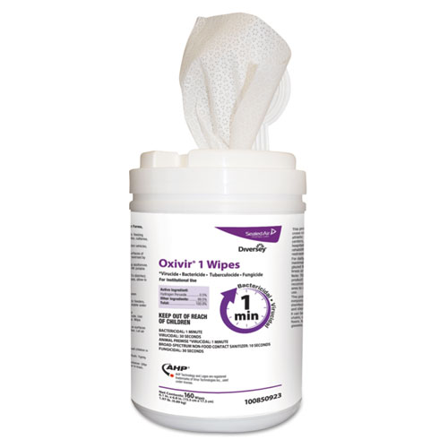 """Diversey™ Oxivir 1 Wipes, 7"""" x 8"""", 60/Canister, 12/Carton"""