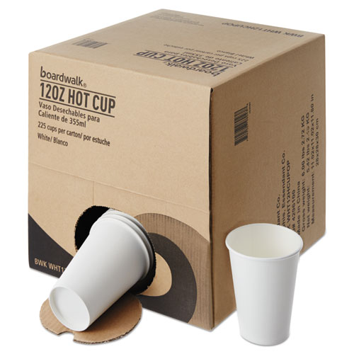 Convenience Pack Paper Hot Cups, 12 oz, White, 9 Cups/Sleeve, 25 Sleeves/Carton