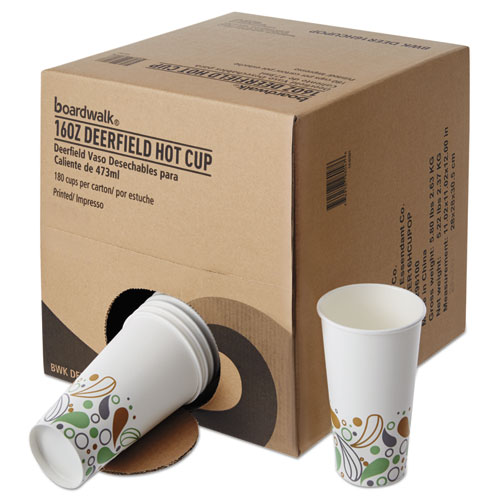 Convenience Pack Paper Hot Cups, 16 oz, Deerfield Print, 9 Cups/Sleeve, 20 Sleeves/Carton