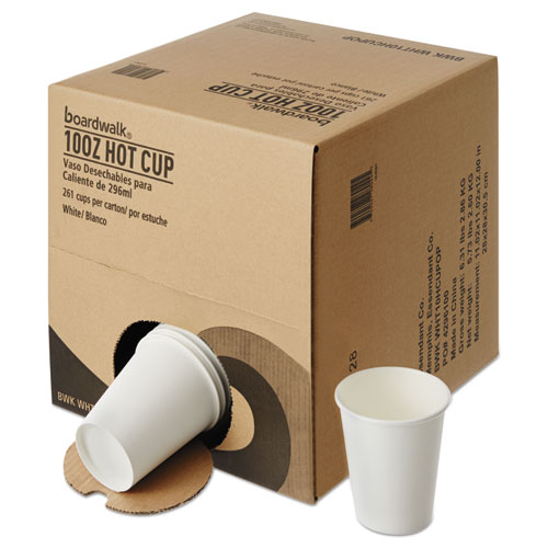 Convenience Pack Paper Hot Cups, 10 oz, White, 9 Cups/Sleeve, 29 Sleeves/Carton