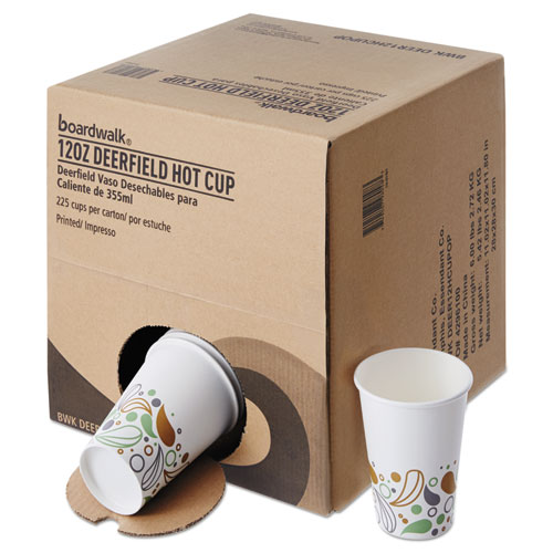 Convenience Pack Paper Hot Cups, 12 oz, Deerfield Print, 9 Cups/Sleeve, 25 Sleeves/Carton