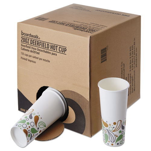 Convenience Pack Paper Hot Cups, 20 oz, Deerfield Print, 9 Cups/Sleeve, 15 Sleeves/Carton