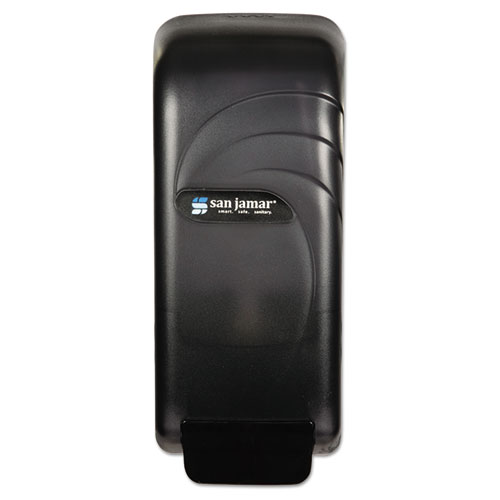 "San Jamar® Oceans Universal Liquid Soap Dispenser, 800 mL, 4.5"" x 4.38"" x 10.5"", Black"