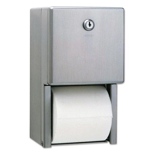 Stainless Steel 2-Roll Tissue Dispenser, 6 1/16 x 5 15/16 x 11, Stainless Steel