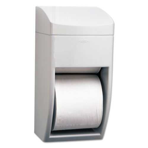 Matrix Series Two-Roll Tissue Dispenser, 6 1/4w x 6 7/8d x 13 1/2h, Gray | by Plexsupply