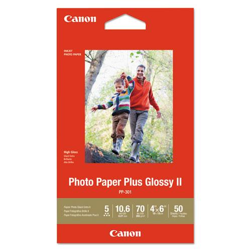 Photo Paper Plus Glossy II, 4 x 6, Glossy White, 50/Pack