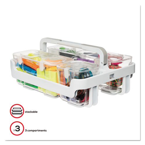 Stackable Caddy Organizer w/ S, M  L Containers, White Caddy, Clear Containers