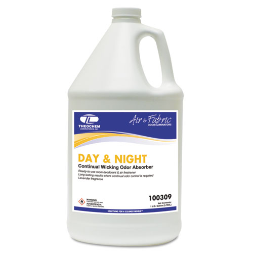 Theochem Laboratories DAY & NIGHT Concentrated Liquid Odor Absorber, Neutral, 1gal, Bottle, 4/Carton