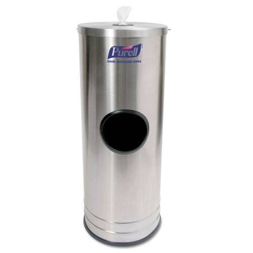 Dispenser Stand for Sanitizing Wipes, 1,500 Wipe Capacity, 10.25 x 10.25 x 14.5, Stainless Steel