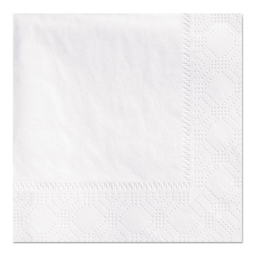 Beverage Napkins, 2-Ply 9 1/2 x 9 1/2, White, Embossed, 1000/Carton | by Plexsupply