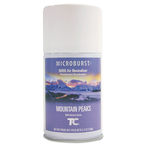 Rubbermaid® Commercial TC Microburst 9000 Air Freshener Refill, Mountain Peaks, 5.3 oz Aerosol, 4/Carton