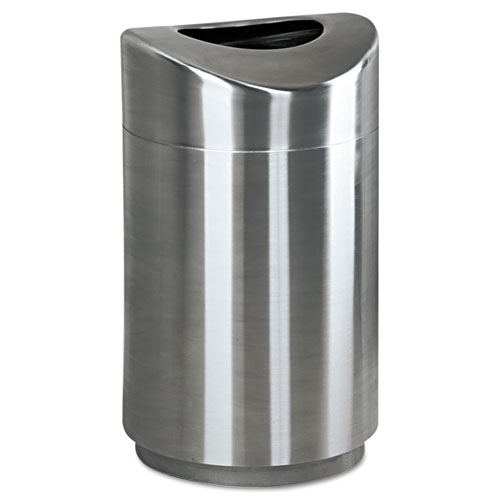 Rubbermaid® Commercial Eclipse Open Top Waste Receptacle, Round, Steel, 30 gal, Stainless Steel