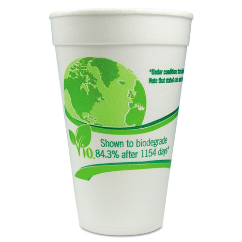 Vio Biodegradable Cups, Foam, 16 oz, White/Green, 500/Carton 16C18VIO