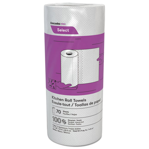 Select Perforated Roll Towels, 2-Ply, 8 x 11, White, 70/Roll, 30 Rolls/Carton