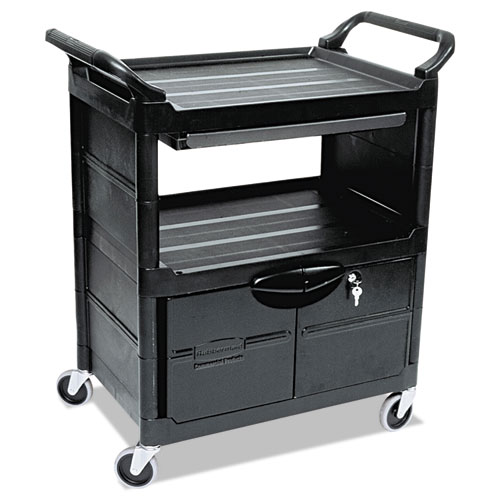Utility Cart With Locking Doors, Two-Shelf, 33.63w x 18.63d x 37.75h, Black