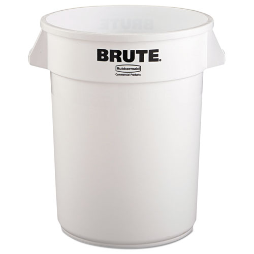 Rubbermaid® Commercial Round Brute Container, Plastic, 32 gal, White