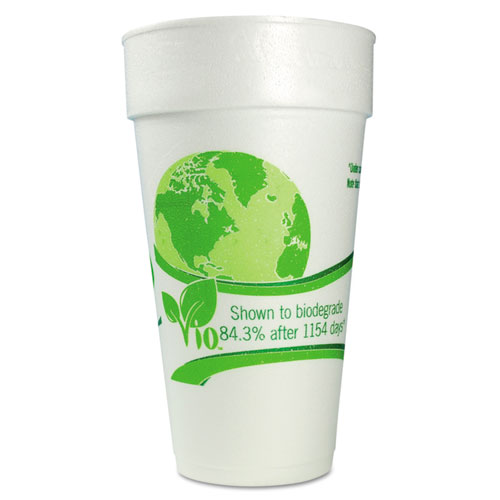 WinCup® Vio Biodegradable Cups, Foam, 24 oz, White/Green, 300/Carton